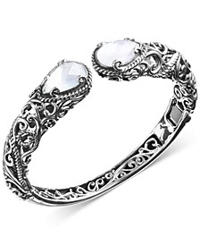 Mother-of-Pearl Hinged Cuff Bracelet in Sterling Silver