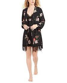 INC Floral-Print Short Wrap Robe, Created for Macy's