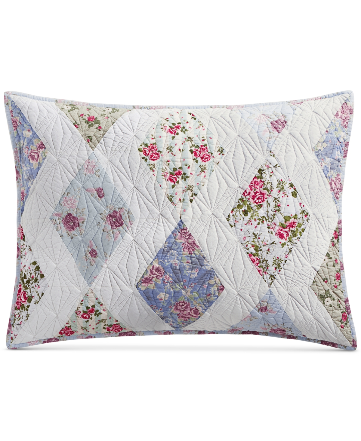 Last Act! Martha Stewart Collection Reversible Diamond Floral Patchwork King Sham, Created for Macy's
