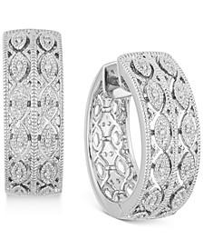 """Diamond Openwork Small Hoop Earrings (1/20 ct. t.w.) in Sterling Silver, 0.9"""""""