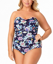 Plus Size Holiday Paisley Printed Shirred Bandeau One-Piece Swimsuit