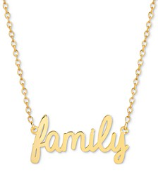 Family Script Adjustable Pendant Necklace in 14k Gold-Plated Sterling Silver