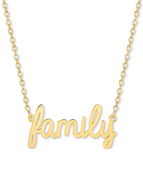 Sarah Chloe Family Script Adjustable Pendant Necklace in 14k Gold-Plated Sterling Silver