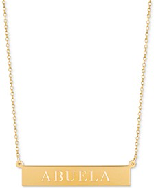 Abuela Adjustable Engraved Bar Pendant Necklace in 14k Gold-Plated Sterling Silver