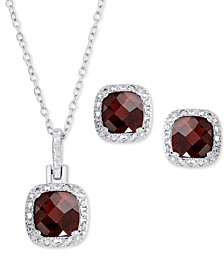 2-Pc. Set Rhodolite Garnet Pendant Necklace & Matching Stud Earrings (3 ct. t.w.) in Sterling Silver