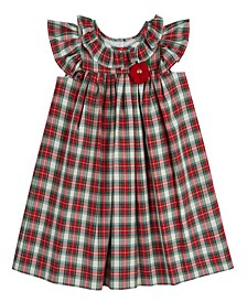 Little Girls London Flutter Sleeve Plaid Dress