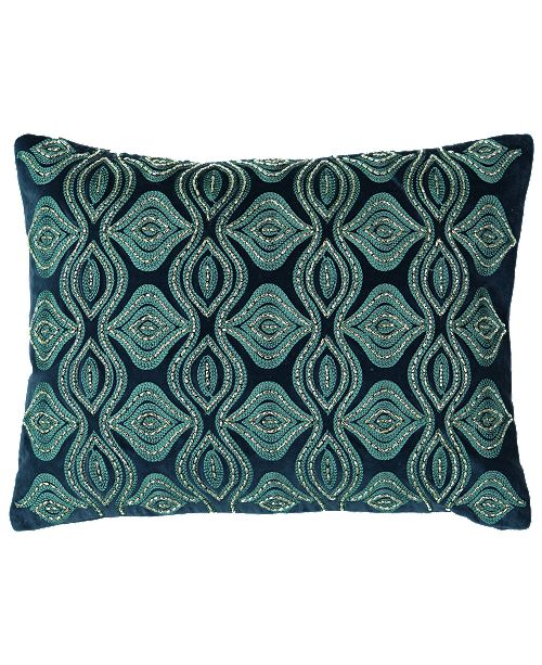 """Mod Lifestyles Holiday Blue Collection Flor Beads Velvet Embroidery Pillow, 14"""" X 14"""""""