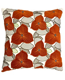"""Spice Collection Fall Leaves Embroidery Applique Beads Pillow, 20"""" X 20"""""""