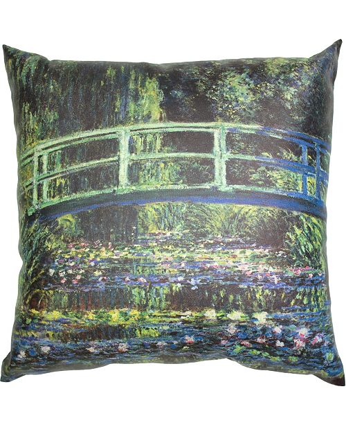 "Red Lantern Monet Bridge At Giverny Pillow, 14.25"" x 14.25"""