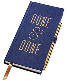 """Navy """"Done & Done"""" - Shimmer Bookcloth Cover Book Bound with Penstandard Issue Multi-tool Pen"""