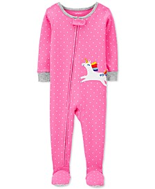 Baby Girls Dot-Print Unicorn Footed Pajamas