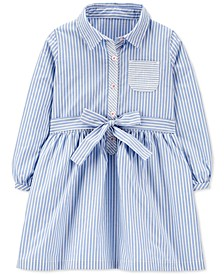 Toddler Girls Cotton Poplin Striped Shirtdress