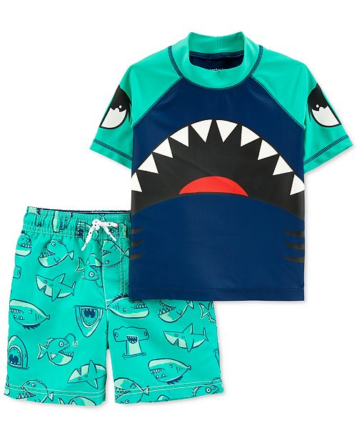 Carter's Baby Boys 2-Pc. Shark Rash Guard Set