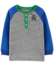 Toddler Boys Dog-Print Henley T-Shirt