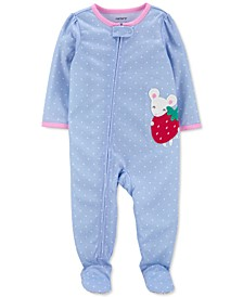 Baby Girls 1-Pc. Mouse Dot-Print Footie Pajama