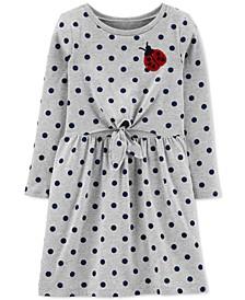 Little Girls Dot-Print Sequin-Ladybug Dress
