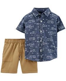 Toddler Boys 2-Pc. Cotton Printed Chambray Shirt & Shorts Set