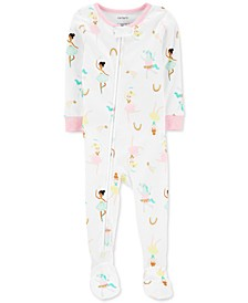 Toddler Girls Cotton 1-Pc. Ballerina-Print Footie Pajama