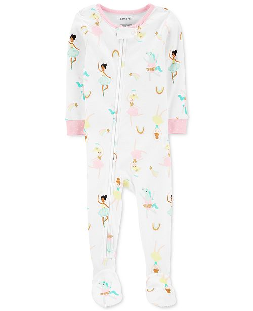 Carter's Toddler Girls Cotton 1-Pc. Ballerina-Print Footie Pajama