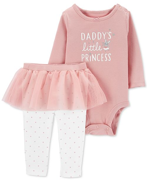 Carter's Baby Girls 2-Pc. Daddy's Little Princess Bodysuit & Tutu Leggings Set