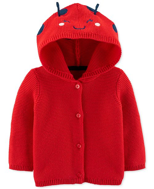 Carter's Baby Girls Cotton Hooded Ladybug Cardigan
