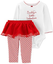 Baby Girls 2-Pc. Valentine Bodysuit & Tutu Pants Set