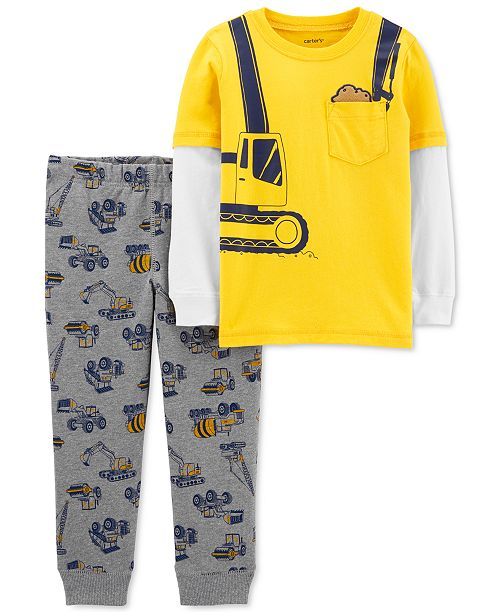 Carter's Toddler Boys 2-Pc. Construction-Print Layered-Look T-Shirt & Jogger Pants Set