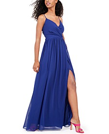 Juniors' Surplice Chiffon Gown
