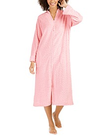 Women's Jacquard Cuddle Fleece Long Zipper Robe
