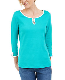 Karen Scott Contrast-Trim Cotton Top, Created for Macy's