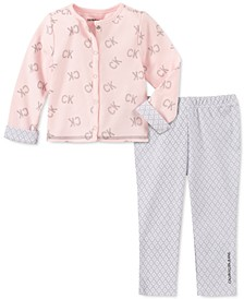 Baby Girls 2-Pc. Logo-Print Cardigan & Geo-Print Pants Set