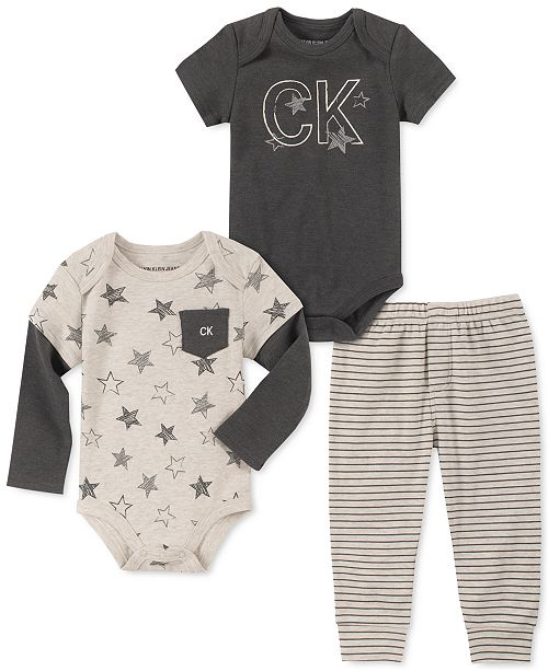 Calvin Klein Baby Boys 3-Pc. Star-Print Bodysuits & Striped Pants Set