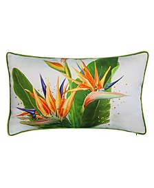 Bird of Paradise Embroidered Decorative Pillow