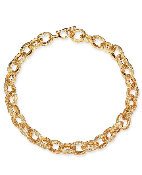 """Charter Club Gold-Tone Textured Link 18"""" Collar Necklace, Created for Macy's"""