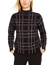 Plaid Mock-Neck Sweater