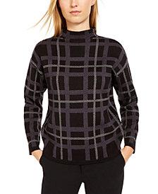 Anne Klein Plaid Mock-Neck Sweater