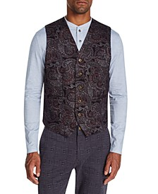 Men's Slim-Fit Stretch Paisley Knit Vest