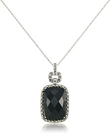 "Marcasite and Faceted Onyx Square Pendant+18"" Chain in Sterling Silver"