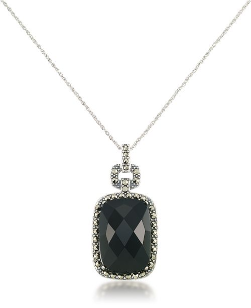 """Macy's Marcasite and Faceted Onyx Square Pendant+18"""" Chain in Sterling Silver"""
