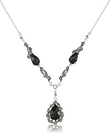 "Marcasite and Faceted Onyx Teardrop Pendant+18"" Chain in Sterling Silver"