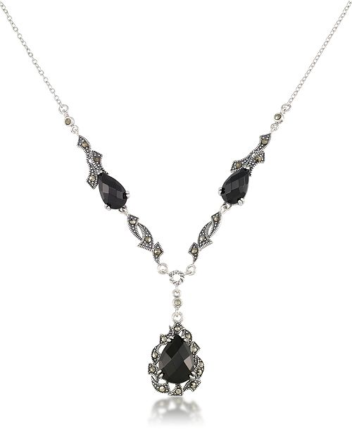 "Macy's Marcasite and Faceted Onyx Teardrop Pendant+18"" Chain in Sterling Silver"