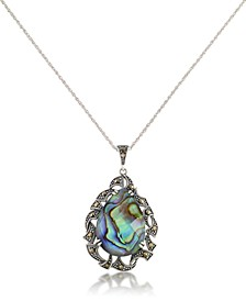 "Marcasite and Abalone Doublet Teardrop Pendant+18"" Chain in Sterling Silver"