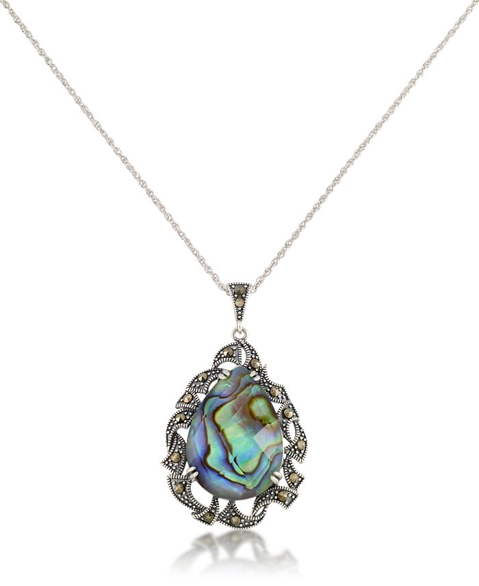 """Macy's - Marcasite and Abalone Doublet Teardrop Pendant+18"""" Chain in Sterling Silver"""