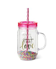 """Sprinkled With Love"" Mason Jar with Straw"