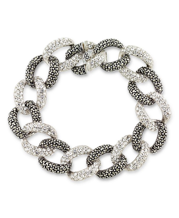 """Macy's - Marcasite and Crystal Pave Oval Link 7 1/2"""" Bracelet in Sterling Silver"""