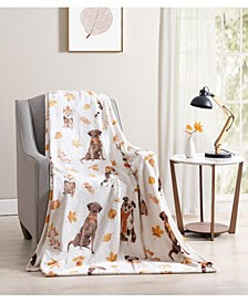 Fall Puppy Friends Plush Throw Blanket