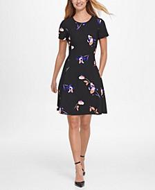Short Sleeve Floral Print Fit & Flare Crepe Dress