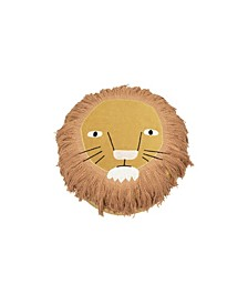 Lion's Face Cotton with Embroidered Face and Long Fringe Corduroy Pouf