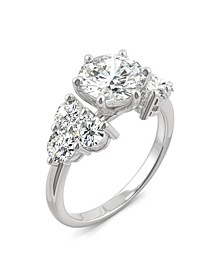 Moissanite Round Cluster Engagement Ring 3-1/4 ct. t.w. Diamond Equivalent in 14k White Gold