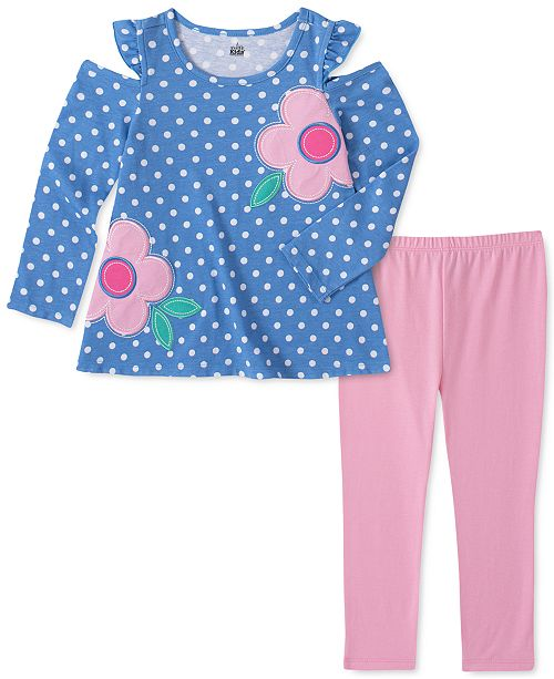 Kids Headquarters Toddler Girls 2-Pc. Flower Dot Top & Leggings Set